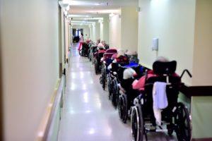 Old Senior Care Home Amenities: Narrow Hallways